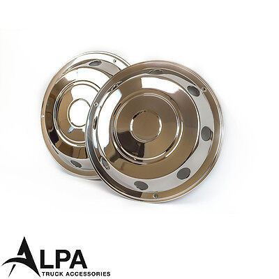 """2 x Front Truck Wheel Trims 17.5"""" Inch Stainless Steel - Iveco, DAF, Mercedes"""