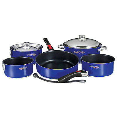 Magma Nesting 10-Piece Induction Compatible Cookware - Cobalt Blue