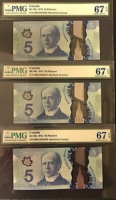 Lot of Three Consecutive 2013 Bank of Canada $5 - Carney's Gem PMG 67 EPQ