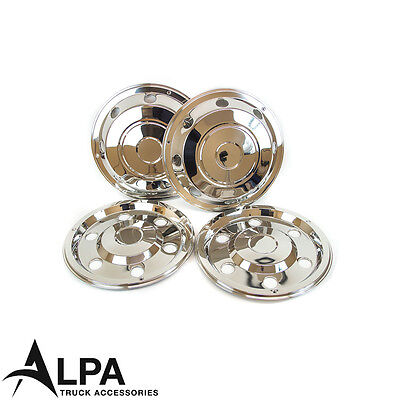 "4 x Mercedes Atego Wheel Trims - 17.5"" Inch - Anti Theft - Stainless Steel"