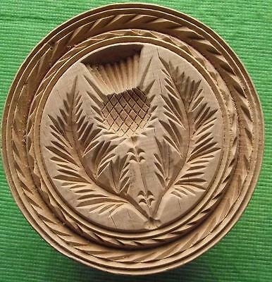 Lovely Scottish 19th Cent Wood Treen Carved Butter Stamp - Thistle