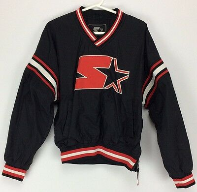 vintage youth starter jacket pullover black, red and white Windbreaker.