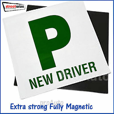 2 x 'P' Plates Fully Magnetic Extra strong Car Bike NEW Driver P plates