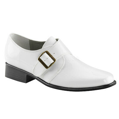LOA12/W/PU Men's Retro Monk Strap Buckling White Matte Halloween Costume Loafers