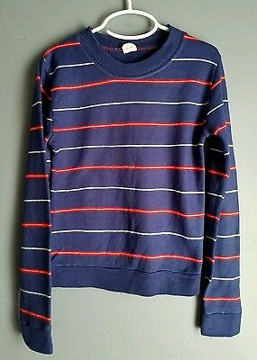 Vintage boys sweater size S 6-8 crewneck navy blue striped