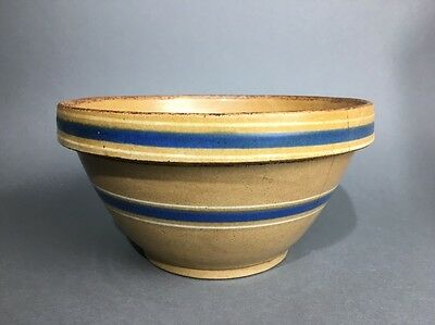 """Antique Yellow Ware Blue & White Striped Banded 10 1/2"""" Stoneware Mixing Bowl"""