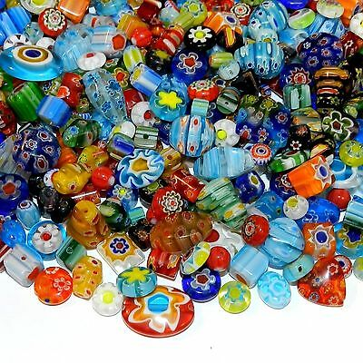 GXL4454 Assorted Color Mixed Shape 4-20mm Millefiori Flower Glass Beads 8oz