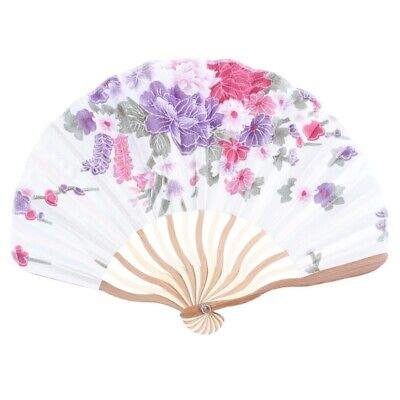 Bamboo Flower Printed Japanese Style Foldable Hand Held Fan Gift Decor N2Y5