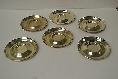 6 Gorham Sterling Demitasse Cup Saucers c1940 191gr  3.75'' Marked Sterling