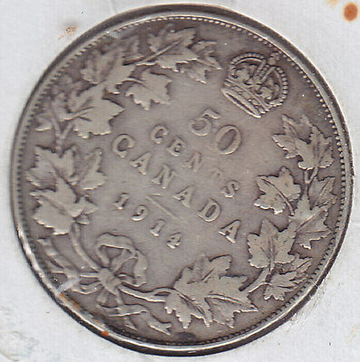 1914 Half Dollar / Fifty Cents - Silver Canadian Coin