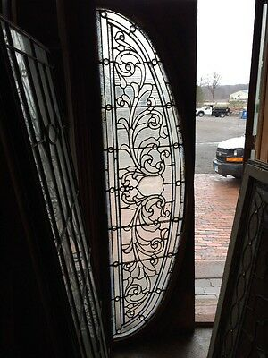 Sg 1202 Antique Jeweled Stained Glass Arch Transom Window 23 X 76