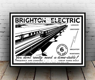 Brighton Electric : Vintage English Railway advert Travel poster reproduction.