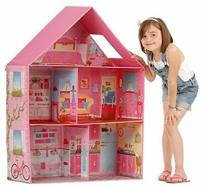 Classic Doll House For Barbie Dream Miniature House Play Room Set Girls Toy Pink