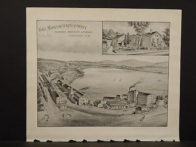 New Hampshire Map, Cole Manufacturing Co, Lakeport, 1892 pictorial pg L5#14