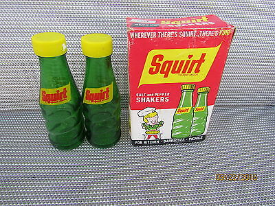 Vintage Advertising Squirt Soda Bottles Salt and Pepper Shakers In Box