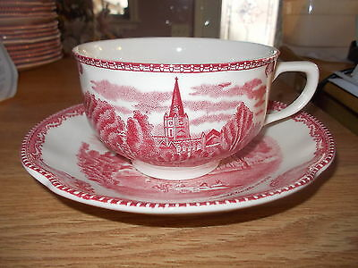3 Johnson Bros Old Britain Castles Cups & 8 Saucers 1792 Pink Red