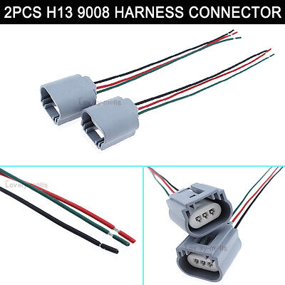 2x New 9008 H13 Female Harness Sockets Connector 2pcs h13 9008 headlight pigtail wiring harness female socket
