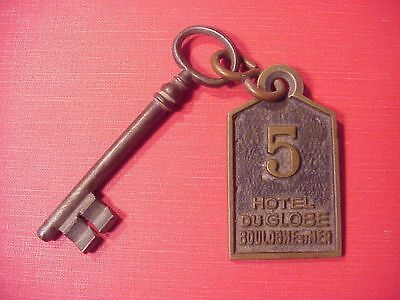 Original Circa Wwi Hotel Du Globe Boulogne Su Mer Room Key And Brass Fob