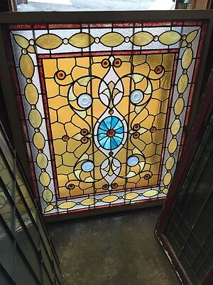 Rk 7 Antique Chunk Jewel Landing Window 40 X 48""