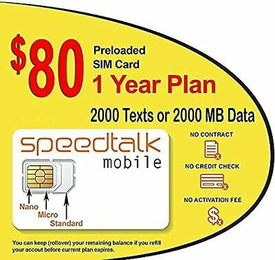 1 Year Wireless Plan $80 Prepaid GSM SIM Card No Contract Rollover TalkText Data