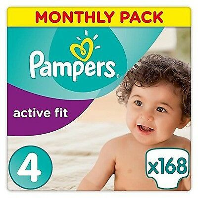 Pampers Premium Protection Active Fit Nappies Monthly Saving Pack - Size 4 16...