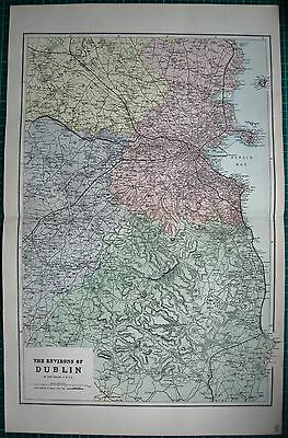 1884 Large Antique Map-Bacon -Weller-Environs Of Dublin