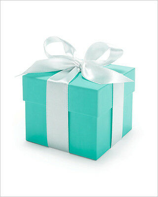 50 x Tiffany Blue 2pc 5x5cm Wedding Bomboniere Boxes favours