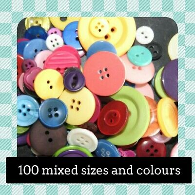 100 Resin Buttons - Various STYLES- COLOURS - SIZES Crafting - Sewing - UK