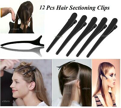 12 Pcs Black Metal Hairdresser Hairdressing Sectioning Hair Clip Salon Clamp New