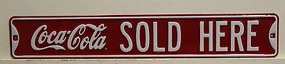 COCA COLA SOLD HERE embossed Metal Sign large street style coke        10909051