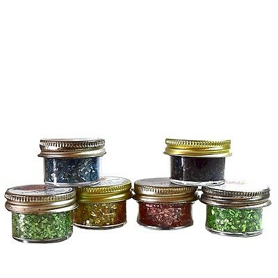 Vintage Glass Shards Art Glitter Set of 6