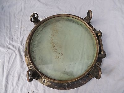 "antique maritime 20.5"" bronze nautical porthole with 16"" glass"