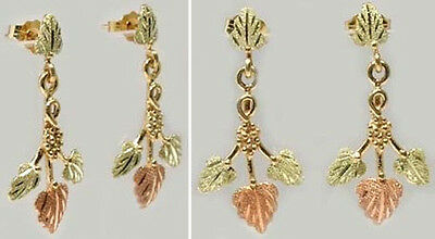 Handmade S. Dakota Black Hills 12kt Gold Red Green Grape Leaf Earrings Mycenean