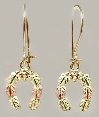 Handcrafted South Dakota Black Hills 12kt Gold Red Green Leaf Horseshoe Earrings