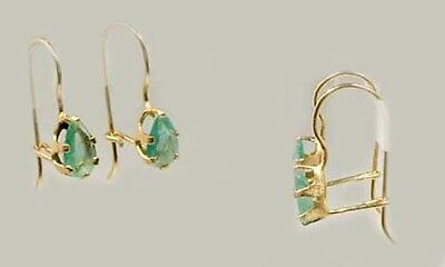 Gold Emerald Earrings ½ct Antique 19thC Ancient Mongol China Islam Unity 14kt