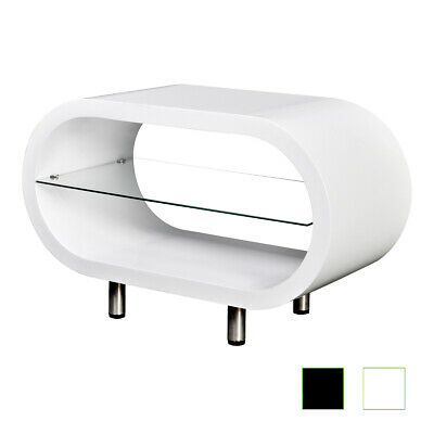 B#High Gloss White/Black TV Stand Coffee Table Couch Side Console Oval Furniture