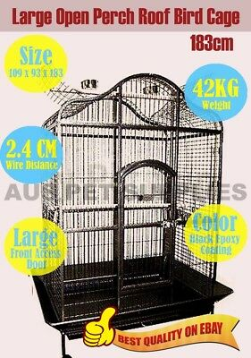 Parrot Aviary Bird Cage Open Roof Perch Budgie Canary Castor Wheel Large 183CM