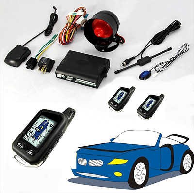 2 Way LCD Car Alarm Immobilizer Engine Anti-thief Lock System Kit