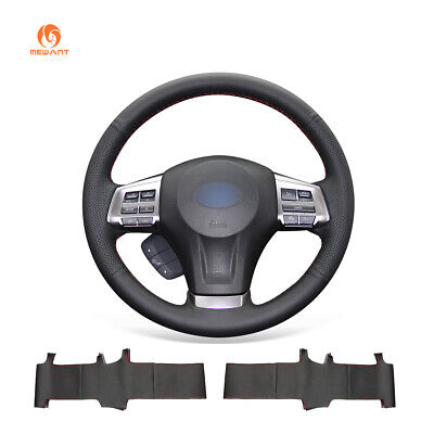 Black Leather Steering Wheel Cover Wrap for Subaru Forester Outback Legacy XV