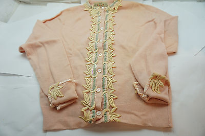 VINTAGE CASHMERE SWEATER BRAEMAR SCOTLAND CARDIGAN LADIES PINK 1950s 50s TRIM S