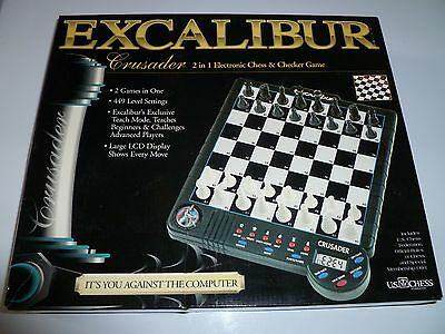 Excalibur Crusader Electronic Chess + Checkers Game Model 903E