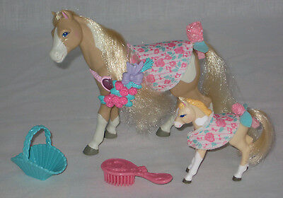 Fisher Price Loving Family Doll House Mare Rosie Horse And Foal Baby Rose Ec