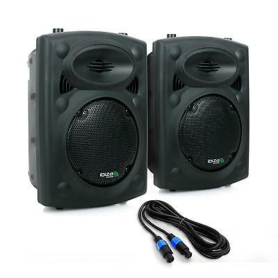 LUIDSPREKER PAIRE IBIZA SLK8-A 2x20cm 600W USB SD MP3 CAISSON ABS PA PARTY SET
