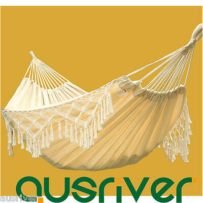 New Large Double Cotton Hanging Chair Hammock Fringe Swing Beach Yard Home 240cm