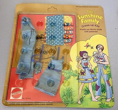 1975# Vintage Mattel The Sunshine Family Dress Up Kits#pretty Up Denim Duds#mosc