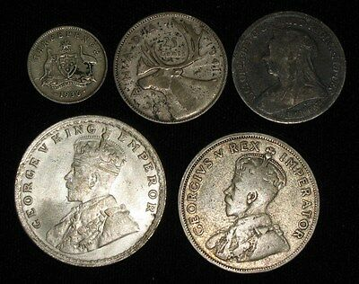 5 Silver Coins from England and the Commonwealth.  1899-1941.   No Reserve!!