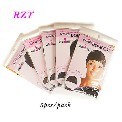 5Packs Black Mech Wig Cap Spandex Net Dome Cap for Wig Make Top Quality Hair Net