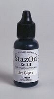 StazOn JET BLACK Solvent based INK 0.5fl.oz bottle REFILL SZR31 for non-porous