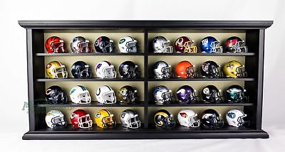 NEW NFL Riddell Pocket Size Speed Helmet 32 Piece with Wood Display Case