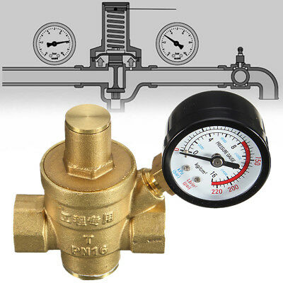 DN15 NPT ½'' Adjustable Brass Water Pressure Regulator Reducer With Gauge Meter